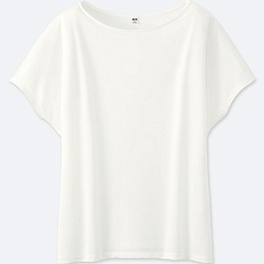 WOMEN DRAPE CREW NECK SHORT SLEEVE T-SHIRT