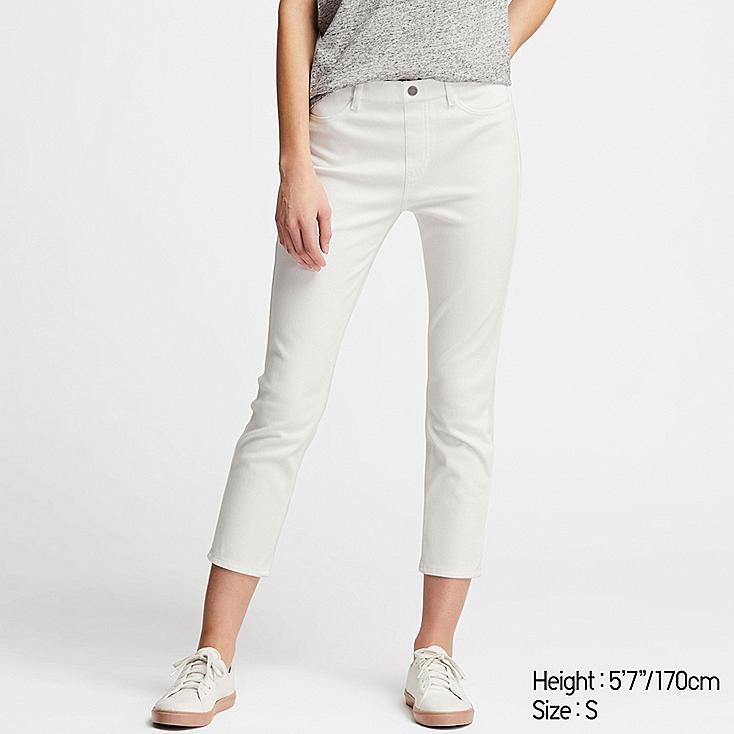 WOMEN ULTRA STRETCH CROPPED LEGGINGS PANTS, WHITE, large
