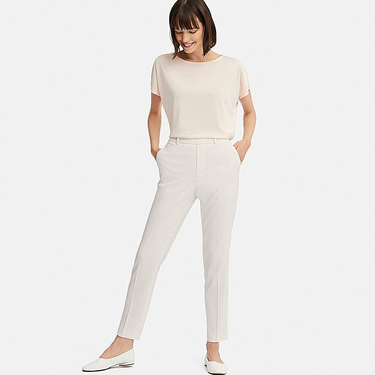 WOMEN EZY ANKLE-LENGTH PANTS, WHITE, large