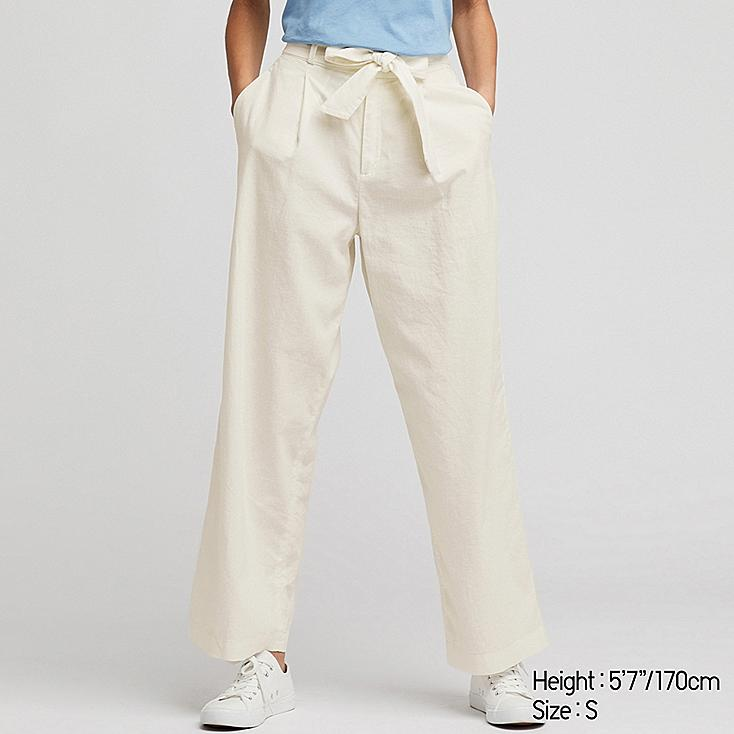 WOMEN BELTED LINEN COTTON WIDE STRAIGHT PANTS, WHITE, large