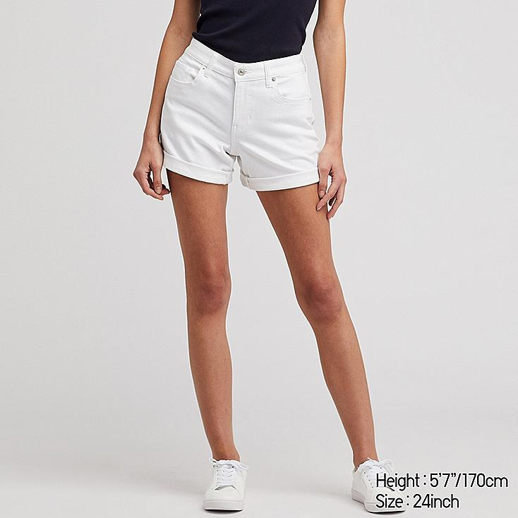 WOMEN MID-RISE ROLL-UP DENIM SHORTS (ONLINE EXCLUSIVE), WHITE, large