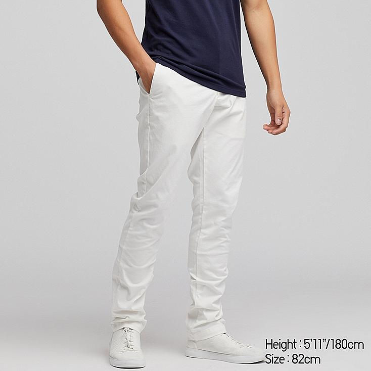 MEN SLIM-FIT CHINO FLAT-FRONT PANTS, WHITE, large