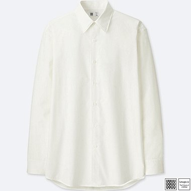 MEN U BROADCLOTH LONG-SLEEVE SHIRT, WHITE, medium