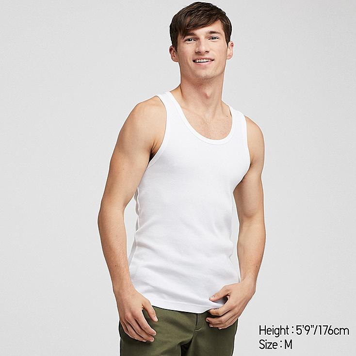 MEN PACKAGED DRY RIBBED TANK TOP, WHITE, large