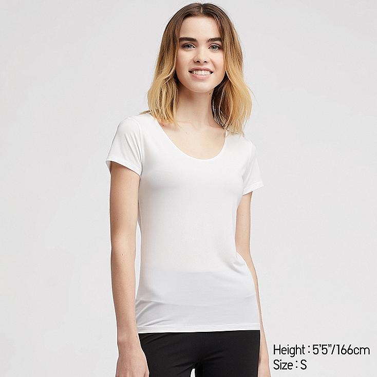 WOMEN AIRism SCOOP NECK SHORT-SLEEVE T-SHIRT, WHITE, large