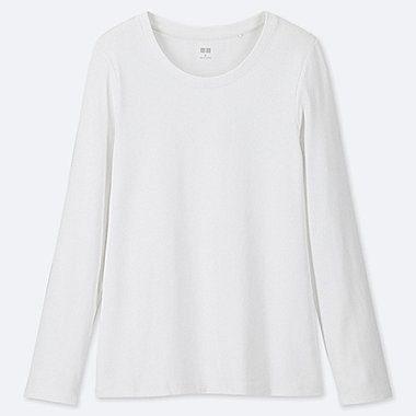 WOMEN 1*1 RIBBED COTTON CREW NECK LONG-SLEEVE T-SHIRT, WHITE, medium