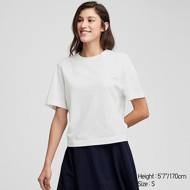 WOMEN CROPPED CREW NECK SHORT-SLEEVE T-SHIRT, WHITE, large
