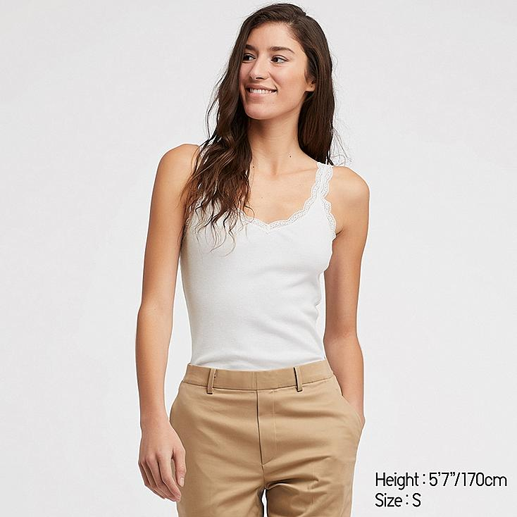 WOMEN 2-WAY RIBBED LACE TANK TOP, WHITE, large