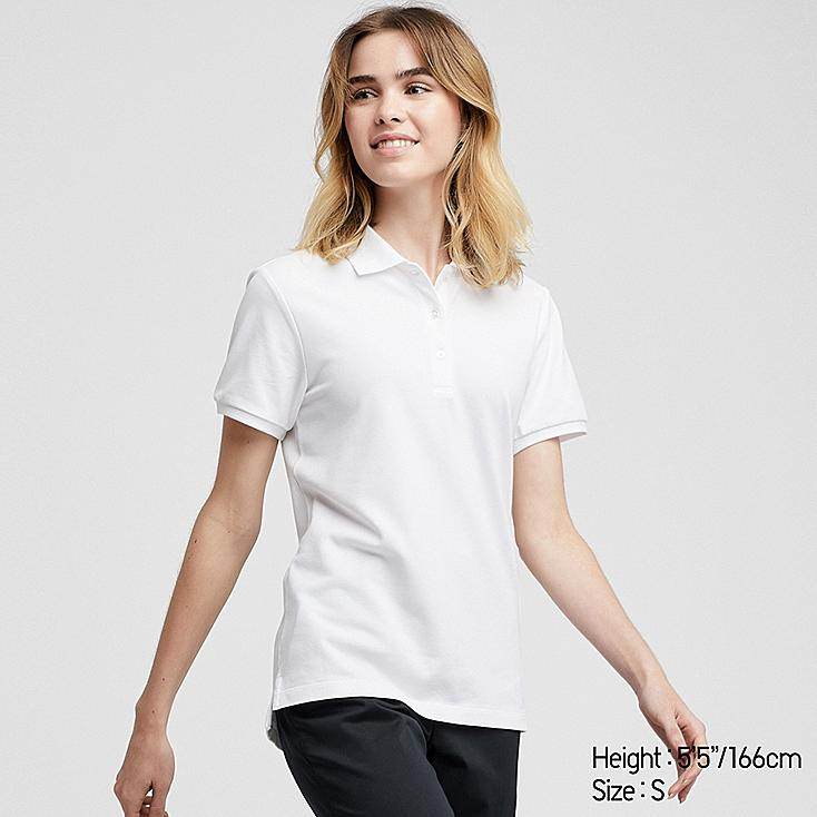 WOMEN STRETCH PIQUE SHORT-SLEEVE POLO SHIRT, WHITE, large