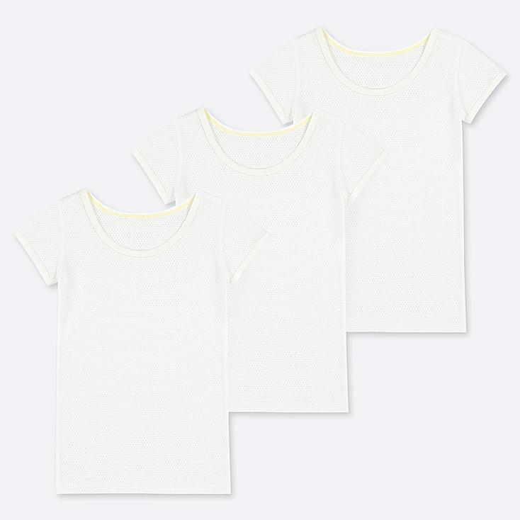 TODDLER COTTON MESH SHORT-SLEEVE T-SHIRT (SET OF 3), WHITE, large