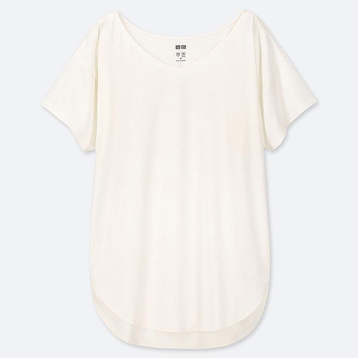 WOMEN AIRism SEAMLESS V-NECK LONG T-SHIRT, WHITE, large