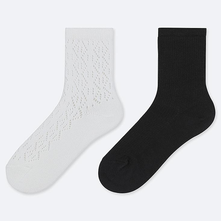 GIRLS REGULAR SOCKS (SET OF 2), WHITE, large