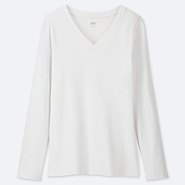 WOMEN 1*1 RIBBED COTTON V-NECK LONG-SLEEVE T-SHIRT, WHITE, medium