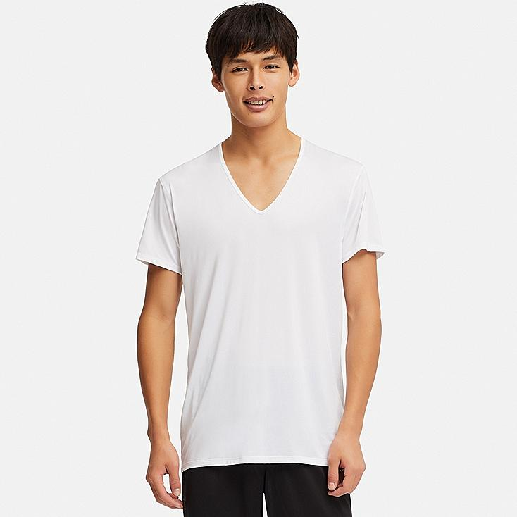 MEN AIRism V-NECK SHORT-SLEEVE T-SHIRT, WHITE, large