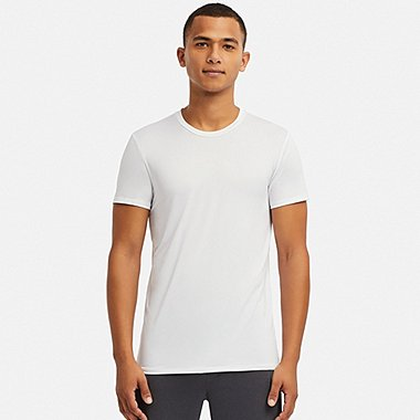 MEN AIRism CREW NECK SHORT-SLEEVE T-SHIRT, WHITE, medium