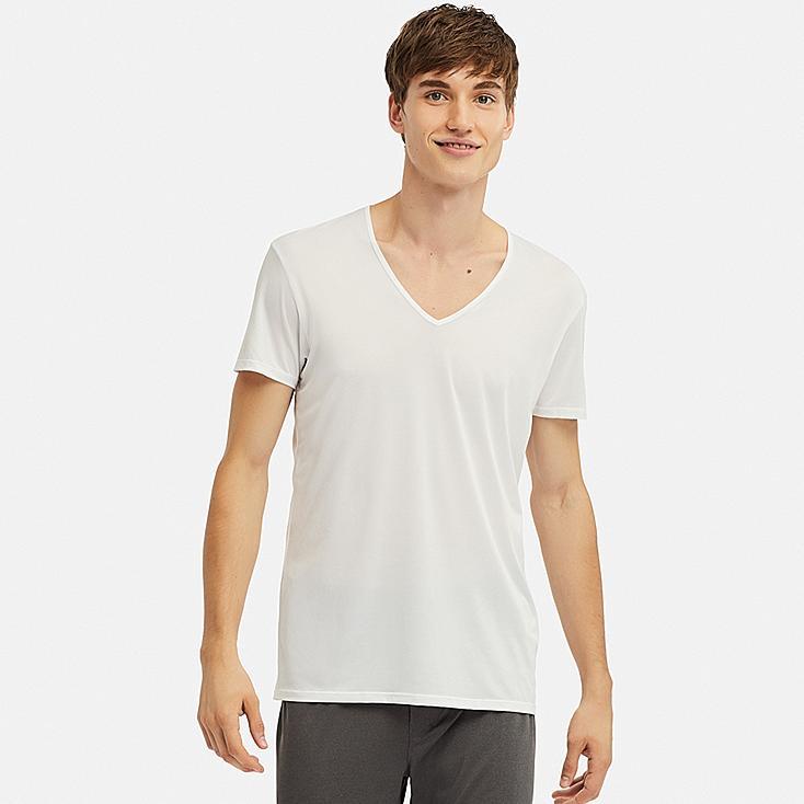 MEN AIRism MESH V-NECK SHORT-SLEEVE T-SHIRT, WHITE, large