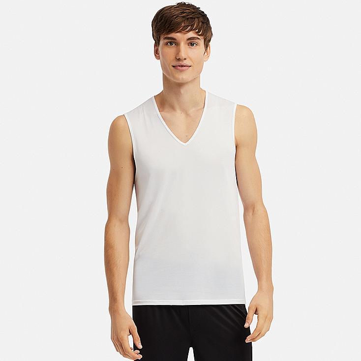 MEN AIRism MESH V-NECK SLEEVELESS TOP, WHITE, large