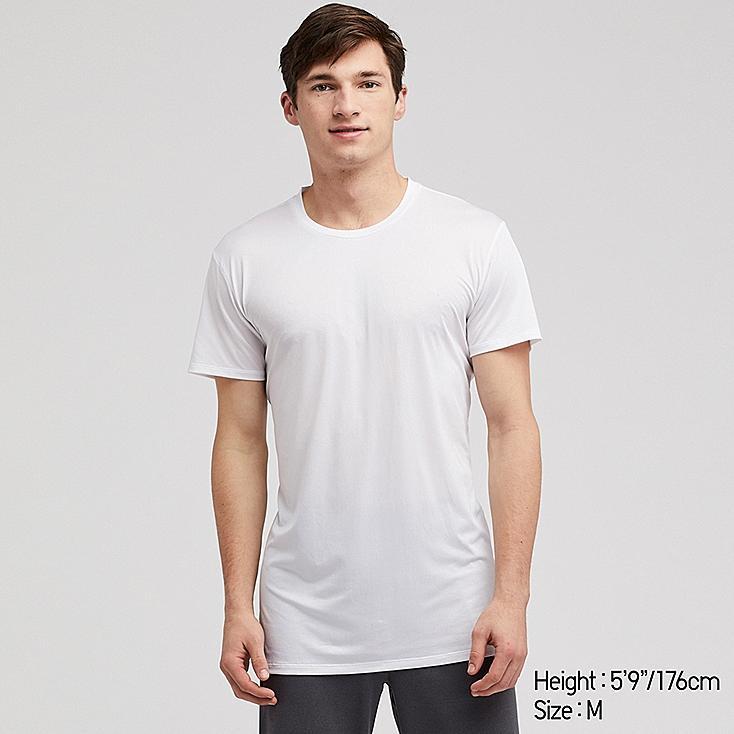 MEN AIRism MESH CREW NECK SHORT-SLEEVE T-SHIRT, WHITE, large