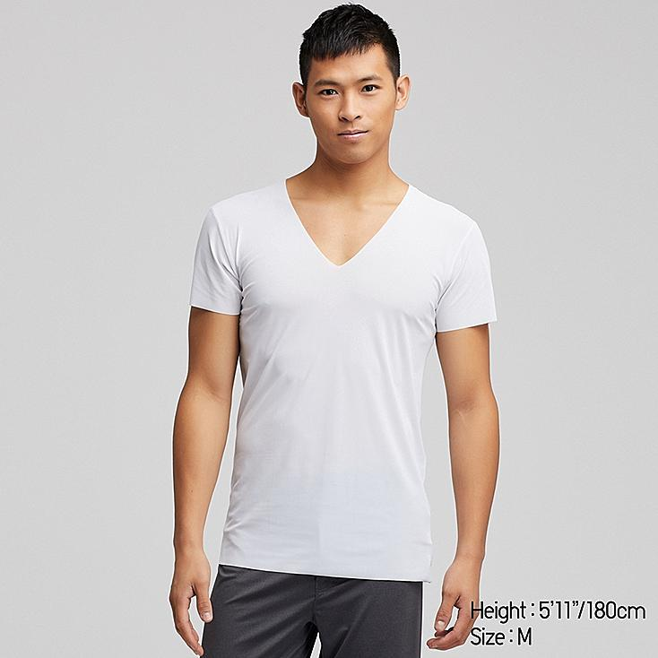 MEN AIRism SEAMLESS SHORT-SLEEVE V-NECK T-SHIRT, WHITE, large