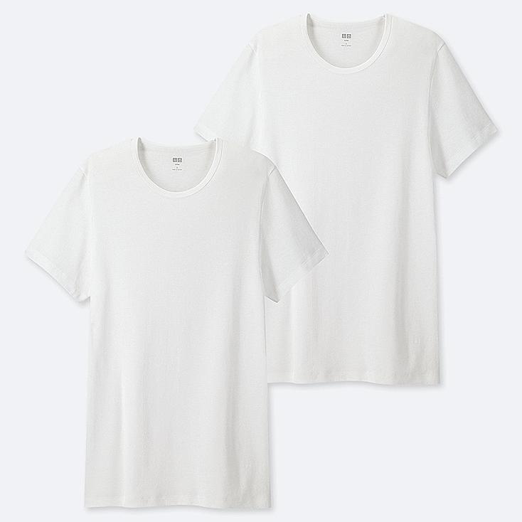 MEN SUPIMA® COTTON CREW NECK SHORT-SLEEVE T-SHIRT (SET OF 2), WHITE, large