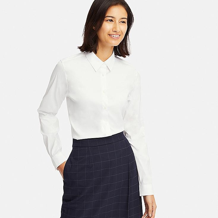 WOMEN SUPIMA® COTTON STRETCH LONG-SLEEVE SHIRT, WHITE, large