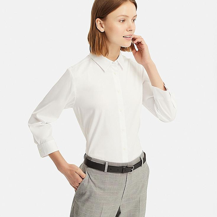 WOMEN SUPIMA® COTTON STRETCH 3/4 SLEEVE SHIRT (ONLINE EXCLUSIVE), WHITE, large