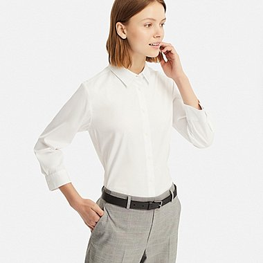 WOMEN SUPIMA® COTTON STRETCH 3/4 SLEEVE SHIRT (ONLINE EXCLUSIVE), WHITE, medium