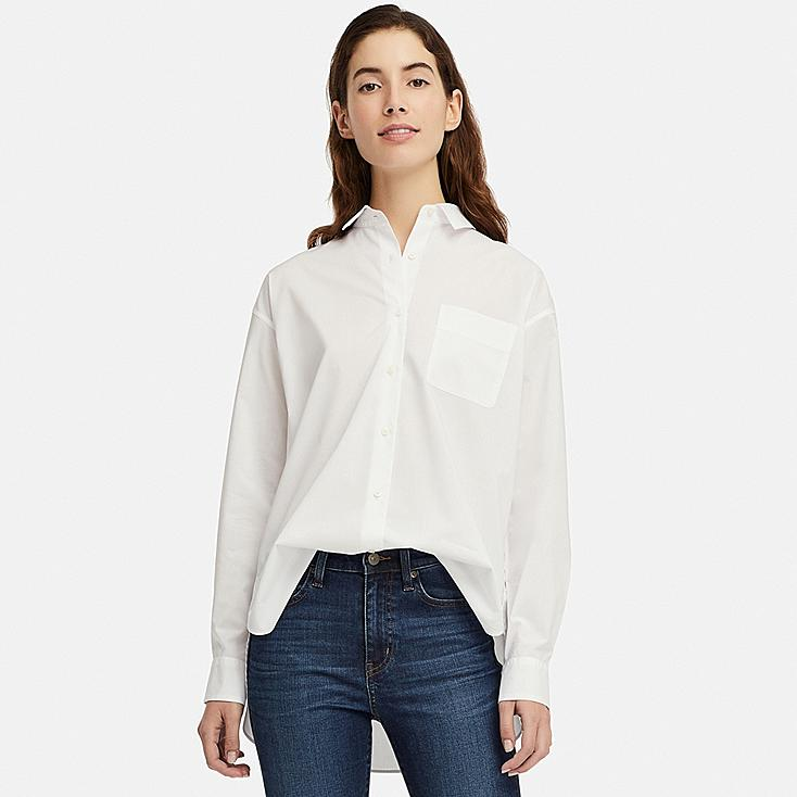 WOMEN EXTRA FINE COTTON LONG-SLEEVE SHIRT, WHITE, large