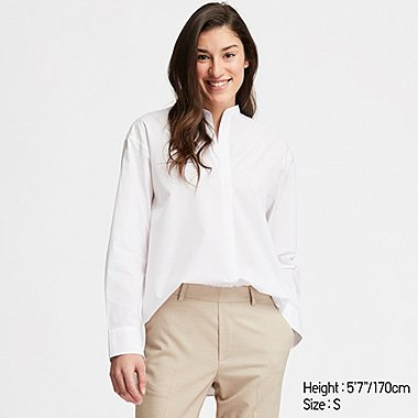WOMEN EXTRA FINE COTTON STAND COLLAR LONG-SLEEVE SHIRT, WHITE, medium