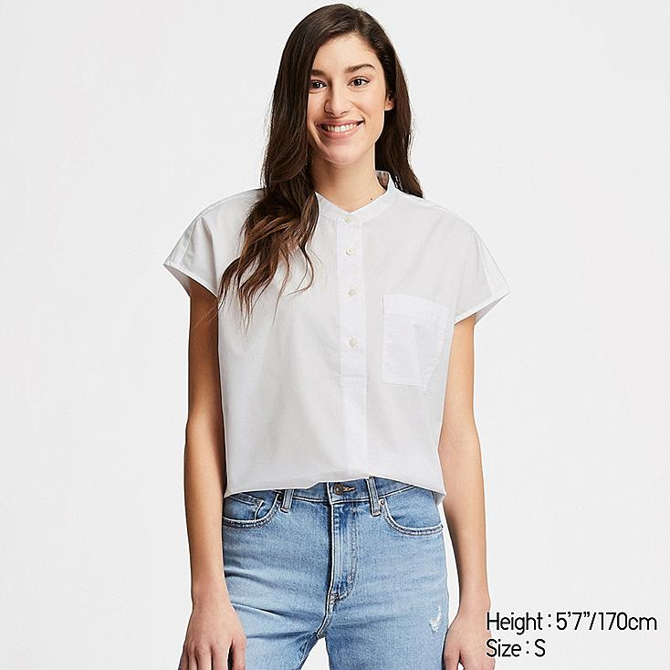 WOMEN EXTRA FINE COTTON SHORT-SLEEVE SHIRT (ONLINE EXCLUSIVE), WHITE, large