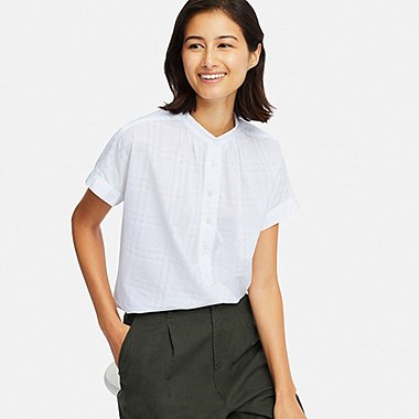 WOMEN SOFT COTTON SEERSUCKER SHORT SLEEVED BLOUSE