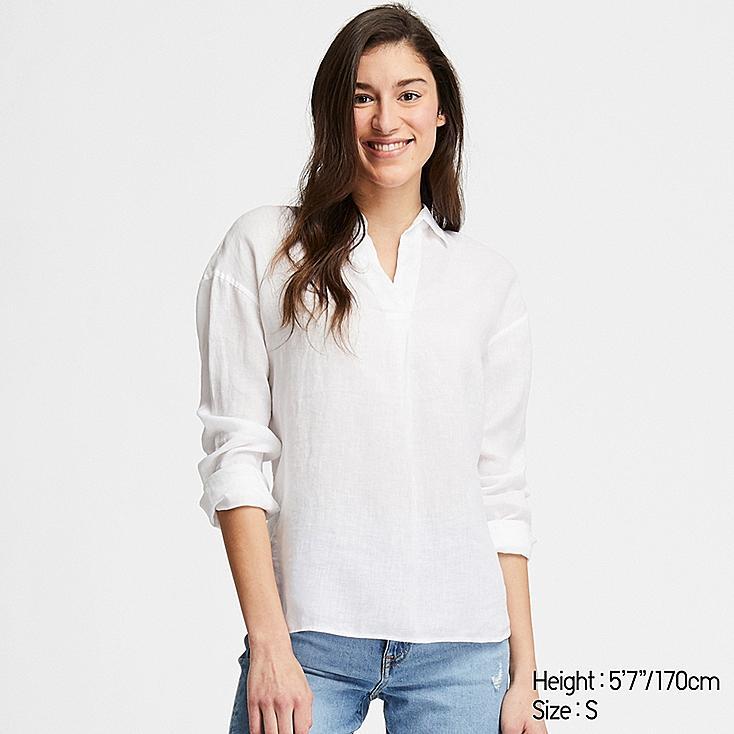WOMEN PREMIUM LINEN SKIPPER COLLAR LONG-SLEEVE SHIRT, WHITE, large