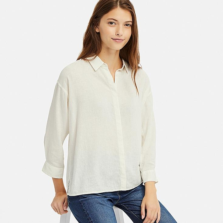 WOMEN LINEN BLEND 3/4 SLEEVE SHIRT, WHITE, large