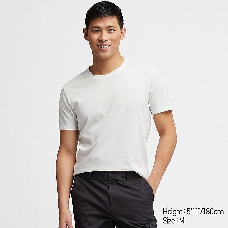 MEN SUPIMA® COTTON CREW NECK SHORT-SLEEVE T-SHIRT, WHITE, large