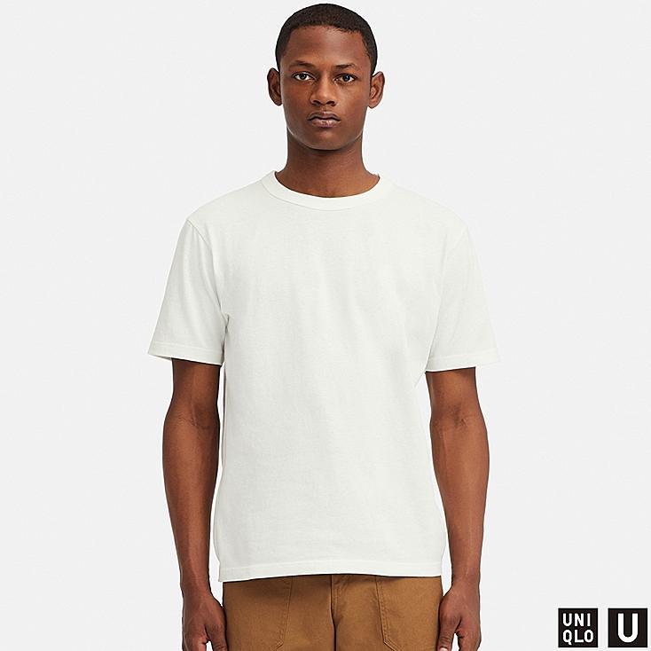 MEN U CREW NECK SHORT-SLEEVE T-SHIRT, WHITE, large