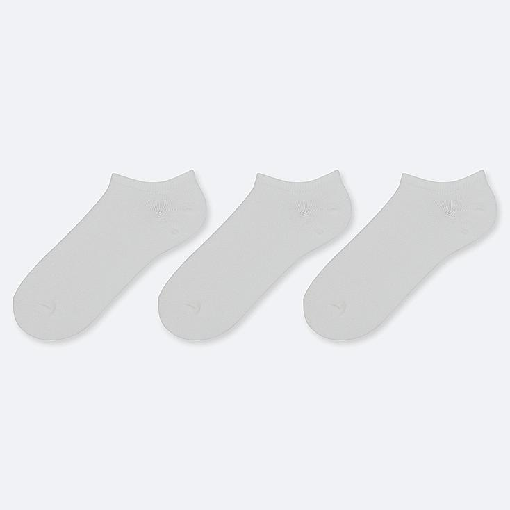 WOMEN SHORT SOCKS (3 PAIRS), WHITE, large