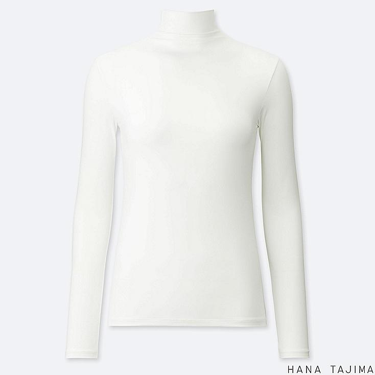 WOMEN AIRism UV CUT HIGH-NECK LONG-SLEEVE T-SHIRT (HANA TAJIMA), WHITE, large