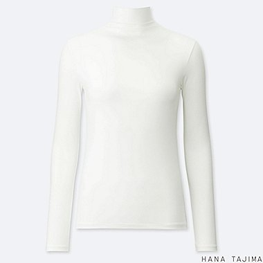 WOMEN AIRism UV CUT HIGH-NECK LONG-SLEEVE T-SHIRT (HANA TAJIMA), WHITE, medium