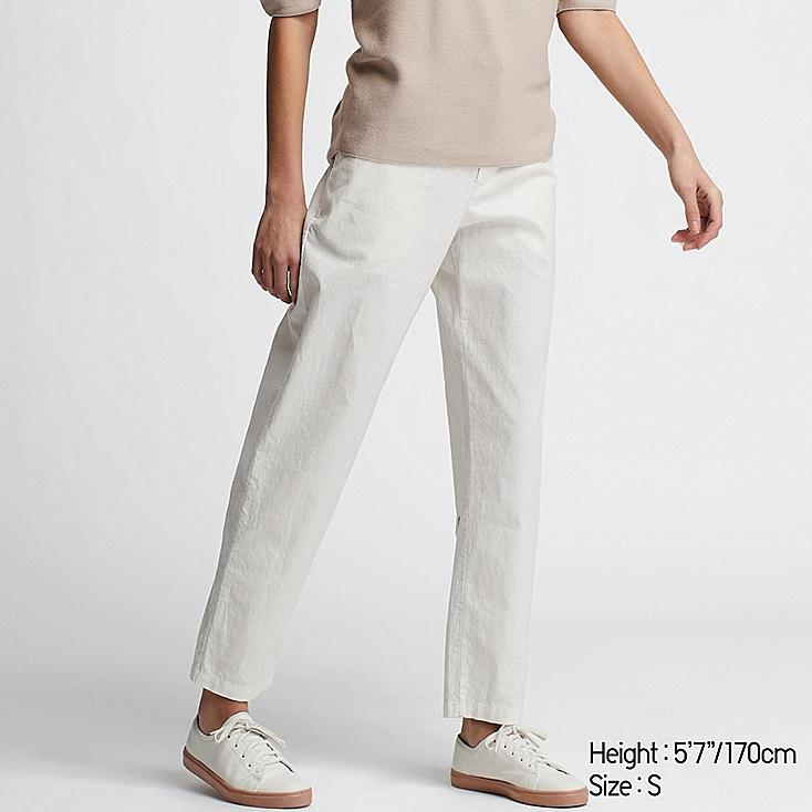 WOMEN LINEN COTTON TAPERED PANTS, WHITE, large