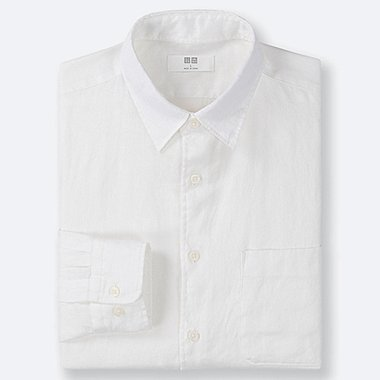 MEN PREMIUM LINEN LONG-SLEEVE SHIRT, WHITE, medium