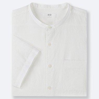 MEN LINEN COTTON SHORT-SLEEVE SHIRT, WHITE, medium
