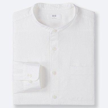 MEN LINEN COTTON STAND COLLAR LONG-SLEEVE SHIRT, WHITE, medium