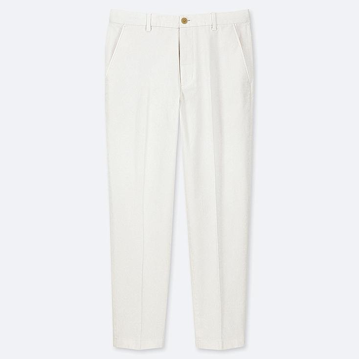 MEN EZY COTTON RELAXED FIT ANKLE-LENGTH PANTS, WHITE, large