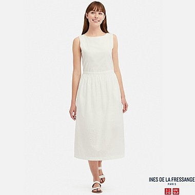 WOMEN EMBROIDERY SLEEVELESS DRESS (INES DE LA FRESSANGE), WHITE, medium