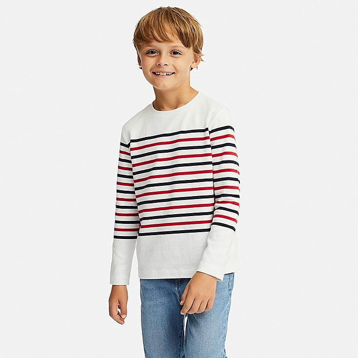 KIDS STRIPED CREW NECK LONG-SLEEVE T-SHIRT, WHITE, large