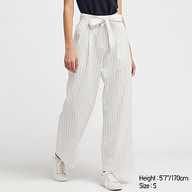 WOMEN LINEN COTTON BLEND WIDE LEG BELTED TROUSERS