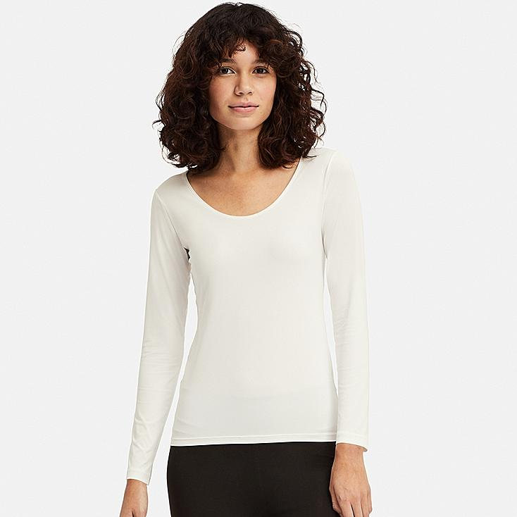 WOMEN AIRism UV CUT SCOOP NECK LONG-SLEEVE T-SHIRT, WHITE, large