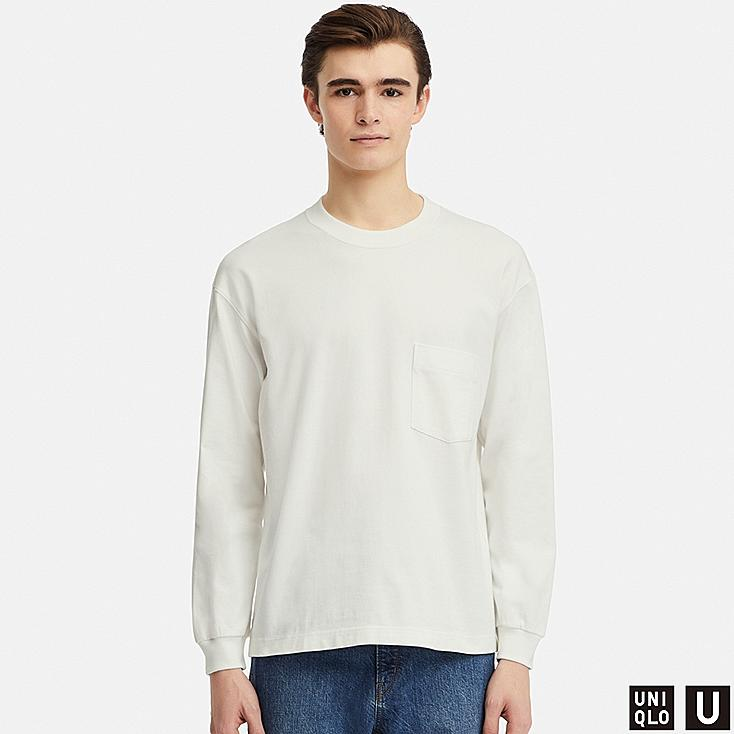MEN U CREW NECK LONG-SLEEVE T-SHIRT, WHITE, large