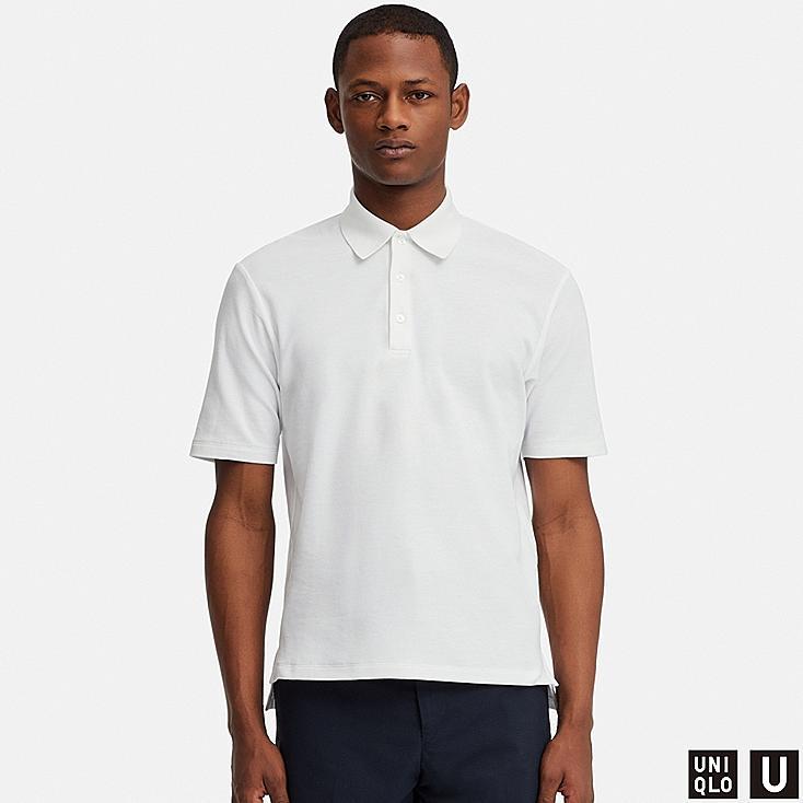 MEN U SUPIMA® COTTON SHORT-SLEEVE POLO SHIRT, WHITE, large
