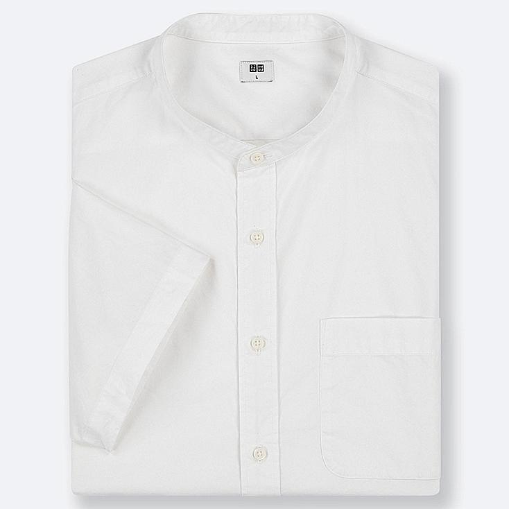 MEN EXTRA FINE COTTON STAND COLLAR SHORT-SLEEVE SHIRT (ONLINE EXCLUSIVE), WHITE, large